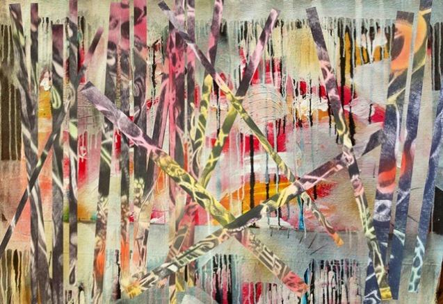 La feria del laberinto, mixed media, 110 x 77 cm. Colección Saatchi Art Gallery, London.