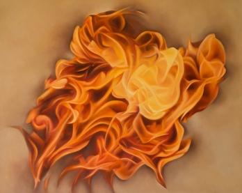 Báez de Lacayo, Fuego espiritual, óleo sobre tela,1.00 x 0.80 cms , 2012.