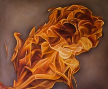 Báez de Lacayo, Llamarada, óleo sobre lienzo, 1.25 x 1.03, 2012.