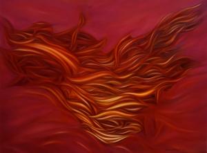Báez de Lacayo, Fuego, óleo sobre tela, 1.22 x 91 cm. 2010