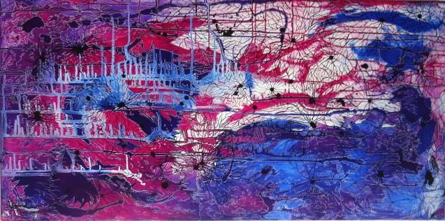 Alessandra Sequeira. Colapso de Onda, 2013. Tinta china sobre lienzo, 61 x 122 cm.