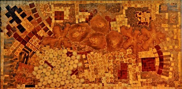 Francisco Herrero Peñuela, Incrustaciones en madera, 245 x 123 cm. 2013.