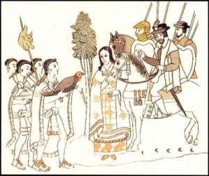 Malinche, grabado. Doña Marina es uno de los personajes americanos  sinónimo de repudio a lo nacional y sumisión a lo extranjero.