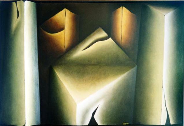 Sólido herido, pieza tridimensional. Técnica mixta, 125 x 100 cm. 2002.