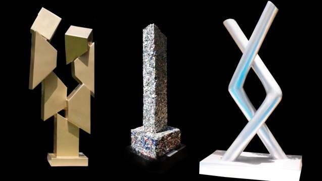 Chachigüegüe, fibra de vidrio laqueada, 2012; Monolito, aluminio reciclado, 2013; Ollin I, fibra de vidrio laqueada, 2012-