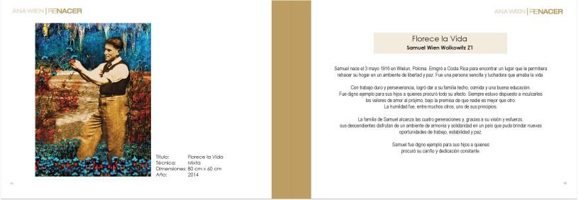 dos páginas del catálogo de la muestra ReNacer, de Ana Wien.