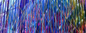 Desdoblamiento del tiempo, Mariu F. Lacayo, técnica mixta sobre leinzo, fibras y metacrilato, 2015.