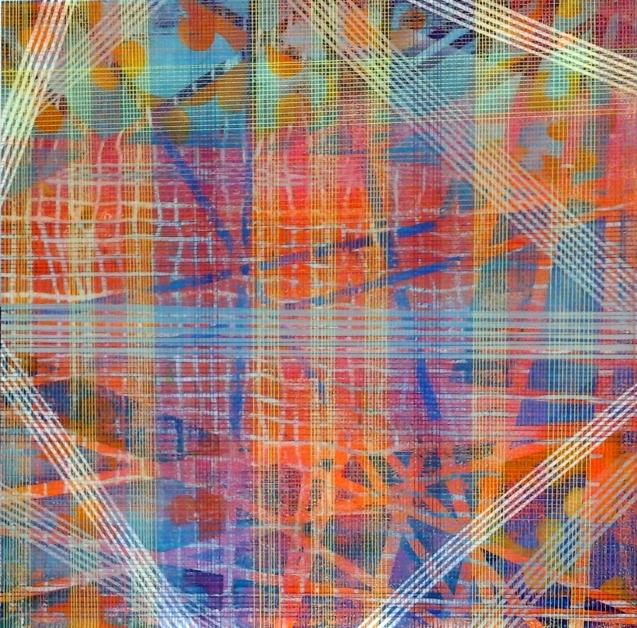 Mariú F. Lacayo, Mapa Cuántico I, Mariu F. Lacayo, técnica mixta sobre lienzo,,110 x 110 cm. 2014. Colección privada.
