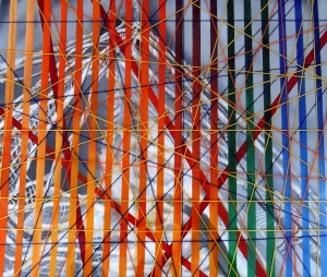 Realidades Alternas. Mixta sobre lienzo, 50 x 62 x 4 cm. Mariu F. Lacayo, 2015.