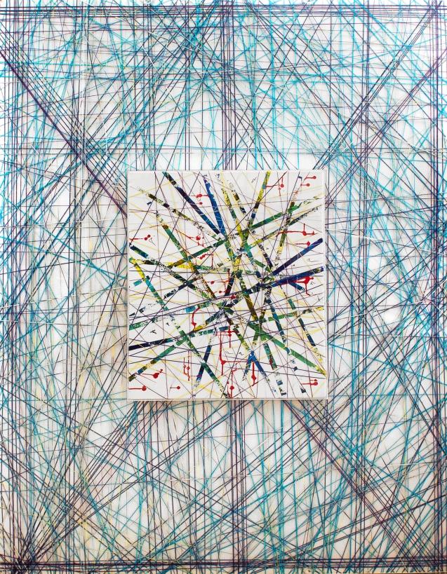 Tejido Universal , Mariu F. Lacayo,técnica mixta en metacrilato,150 x 200 x 10 cm. 2015.