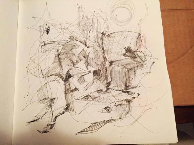 """Cristina Gutiérrez-Cruz, """"Delfín en sala de estar"""", tinta sobre papel, anotación. 2016."""