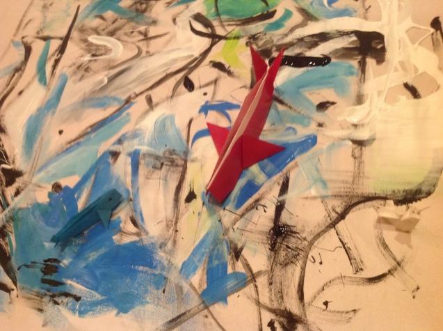 "Cristina Gutiérrez-Cruz. ""Bitácora""Sextante, 78 x 76 cm., acrílico sobre papel y Origami. 2016."