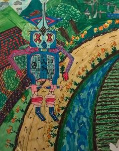 El robot enamorado, ilustración para un cuento de su mamá, Floria Herrero.