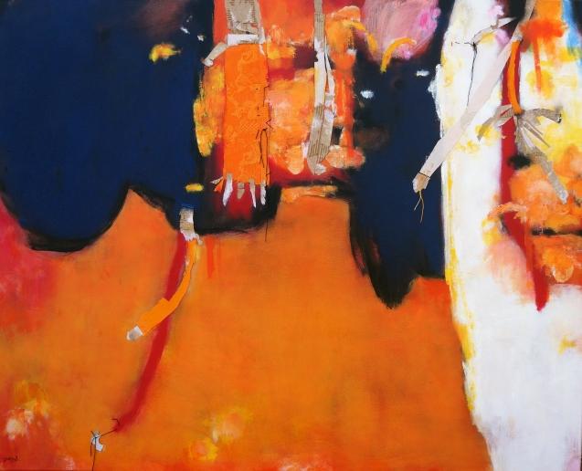 Haza para Diebedó Francis Kéré. Técnica mixta sobre tela, 81 x 100 cms, 2018