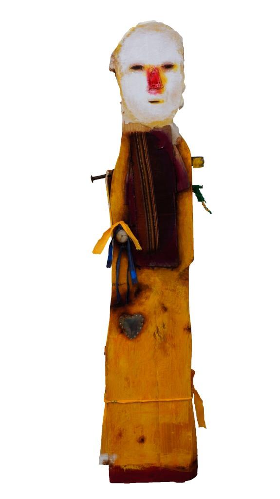 Pacis Conciliator # 2, técnica mixta sobre madera, 77 x 19 x 8 cm, 2014.